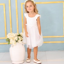 2017 New Collection Handmade Kid's Summer Dress Baby Girl White Lace Tutu Dress