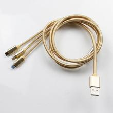Multifunctional 3 in 1 colorful micro usb cable for smart phone