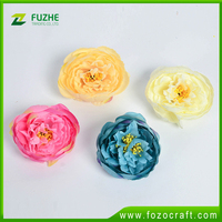 high qulity cheap fabric penoy flowers artificial flower head wholesale