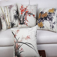 plum orchid bamboo chrysanthemum classical plant flowers digital printing cushion cover pillow case
