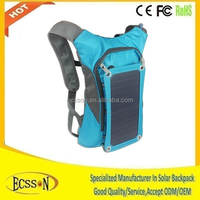 6.5W solar battery power backpack with 5000mah/10000mah power bank for mobile