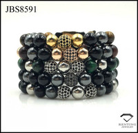 multi natural stone shamballa friendship men bracelet