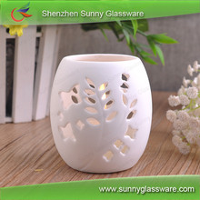 Egg shapel hollow ceramic tealight holder
