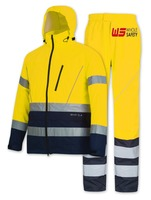 EN 343 Hi-Vis Yellow Poly-Cotton jacket & Trousers. PU waterproof safety garment