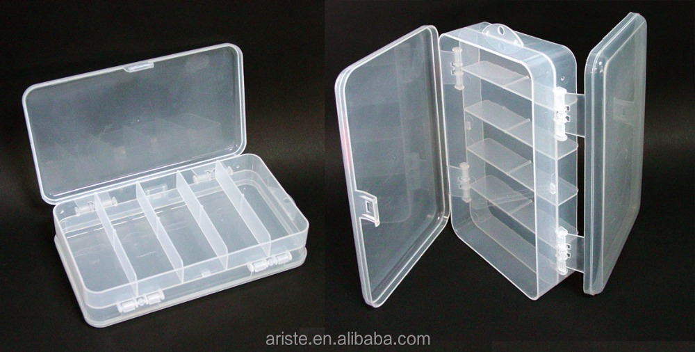 21858 Clear Hard Plastic Storage Box ,10 Compartments