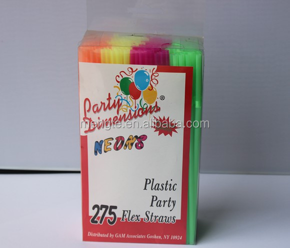 PVC packing Neon plastic party flexible straw