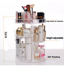Jewelry and Makeup Organizer Holder, Transparent 360 Rotating Makeup Acrylic Organizer, Adjustable Cosmetic Storage Case