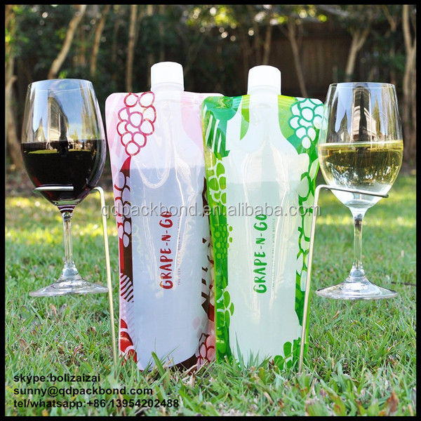 Custom Printed Collapsible Plastic Wine Bottle With Spout