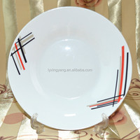 plain white ceramic plate round edge-029