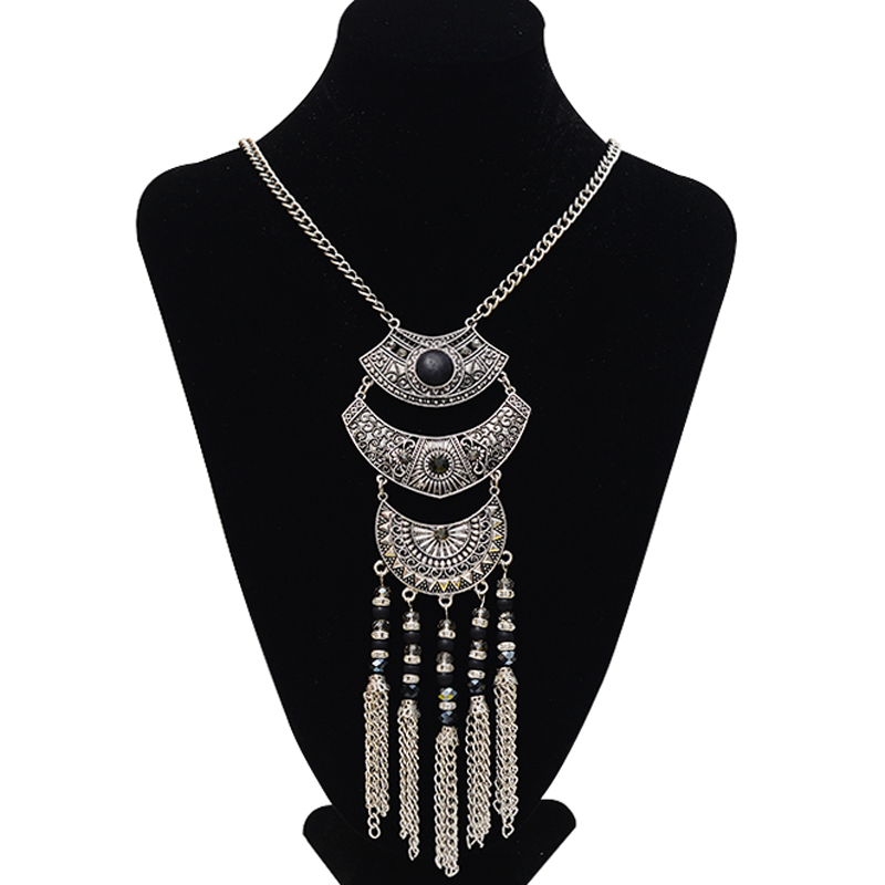2015 new fashion women bohemia pendant necklaces with crystal collar long tassel vintage maxi necklaces ethnic jewelry