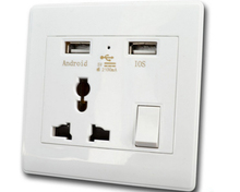 Universal USB wall socket 2100ma dual usb charger power outlet with electrical <strong>switch</strong>