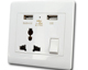 Universal USB wall socket 2100ma dual usb charger power outlet with electrical switch