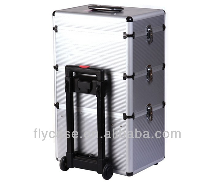 professional aluminum hair tool trolley case with tray and trolley