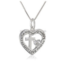 Heart with Cross and Clear Heart Cubic Zirconia Faith Hope Love Pendant Necklace