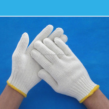 long yellow cotton chore gloves/safety working gloves