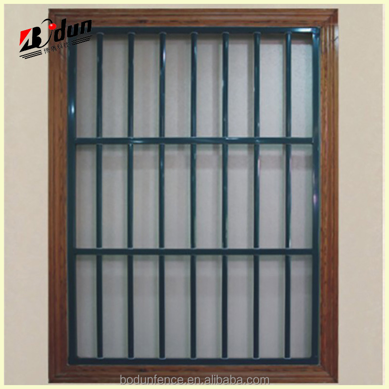 Decorative iron square metal window railing grill design