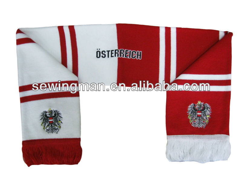 Acrylic embroidery soccer fan's scarf football team scarf