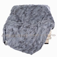CX-D-11A Wholesale China Patchwork Real Rabbit Fur Throw Blanket