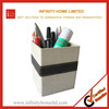 Office Desktop Wooden and Leather Pen Box