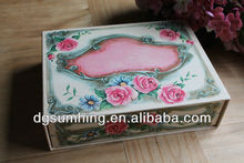 Customized Cardboard Decorative Box Storage Drawer Roses Embossed