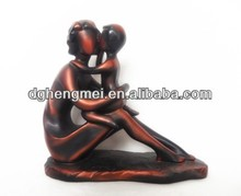 Resin bronze figurines mother and son