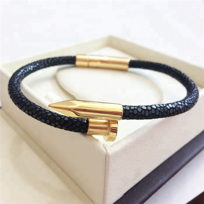 Best Sale Luxury Genuine Stingray Leather Bracelet _5