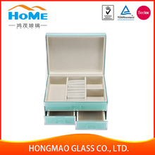 Nice looking wooden glass jewelry display jewelry box insert pad