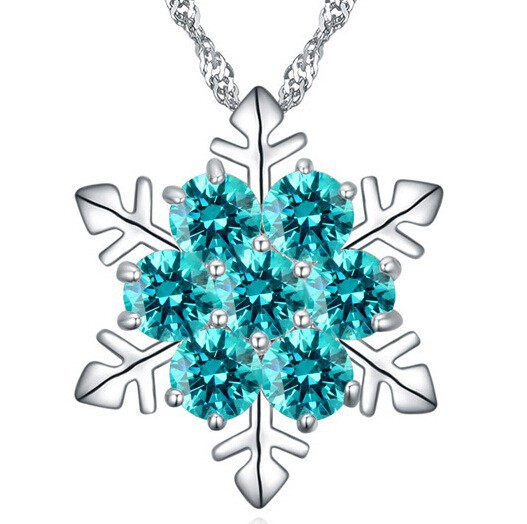 Wholesale Stock Fashion Copper Silver Plated Jewelry Lucky Zircon Red White Blue Crystal Snowflake Necklace Christmas Gifts 2015