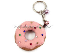 China wholesale donut key ring handmade design pink fabric crystal decor craft promotion kawaii felt pony bead keychain patterns