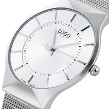 Unisex Silver-Tone Ultra Thin Dial Mesh Stainless steel strap fashion minimalist watch waterproof quartz business watch hands