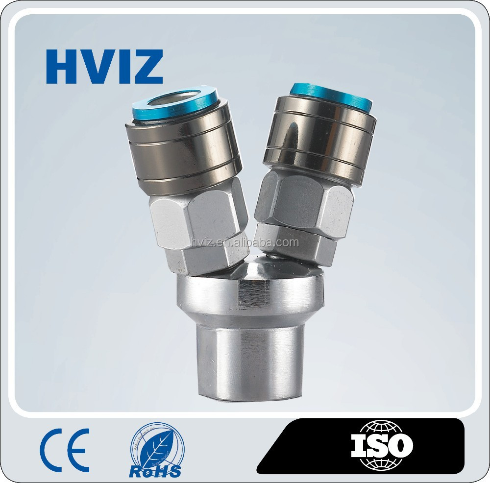 HVIZ china manufactuer self-lock female/male pneumatic 2 way/3way nitto brass fittings