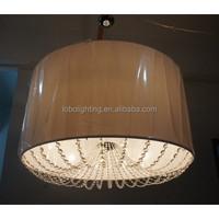 custom drum shade pendant light with crystal trims