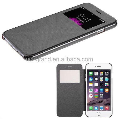 For iphone 6 plus case, flip wallet window view mobile phone cover