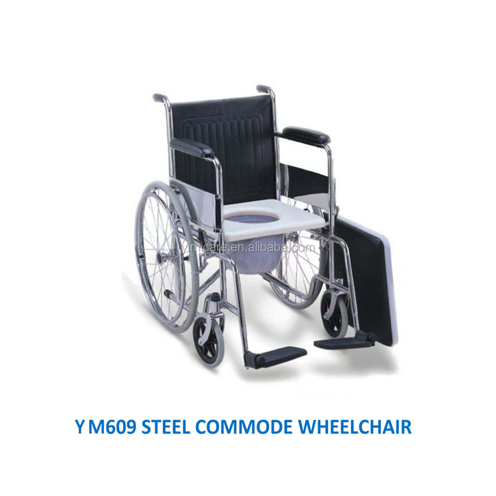 Handicap fixed armrest&footrest steel shower commode wheel chair