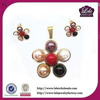 Indian Vintage Style Jewelry Rainbow Acrylic Beads Flower Pendent set jewelry set