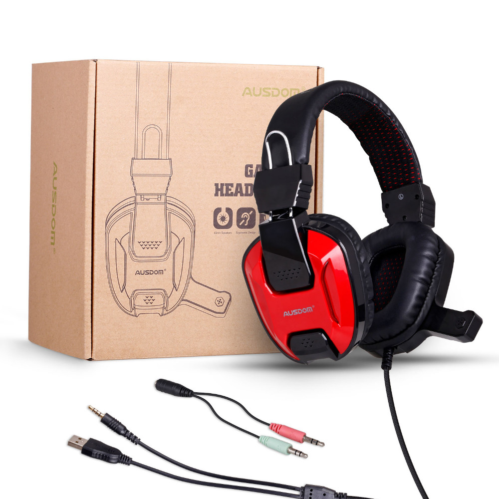 Stereo gaming headset wired PC headset, durable computer headphone wired headset with mic