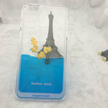 Cute Lovely Liquid Yellow Rubber Duck Animal Case for iphone 6 Plus Factory Directly sale