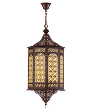 Arabic style lobby hanging wrought iron pendant lamp
