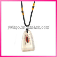 wholesale real insects resin pendant fashion necklace
