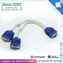 Chinese factory VGA 15 Pin PC SVGA Male to 2 Dual Double Female Adapter Splitter Cable for computer