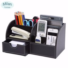 Wholesale 5-slot multifunction office wood leather desk organizer