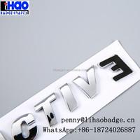 Car decal letter bright chrome auto emblem badge,ABS letter 3D car sticker