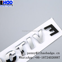Car decal letter bright chrome auto emblem badge,ABS letter 3D car sticker