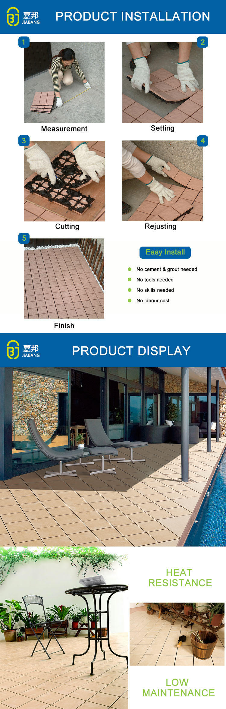 30x30cm new model easy-to-install anti-slip frost sandstone porcelain discontinued adjustable raised floor tile