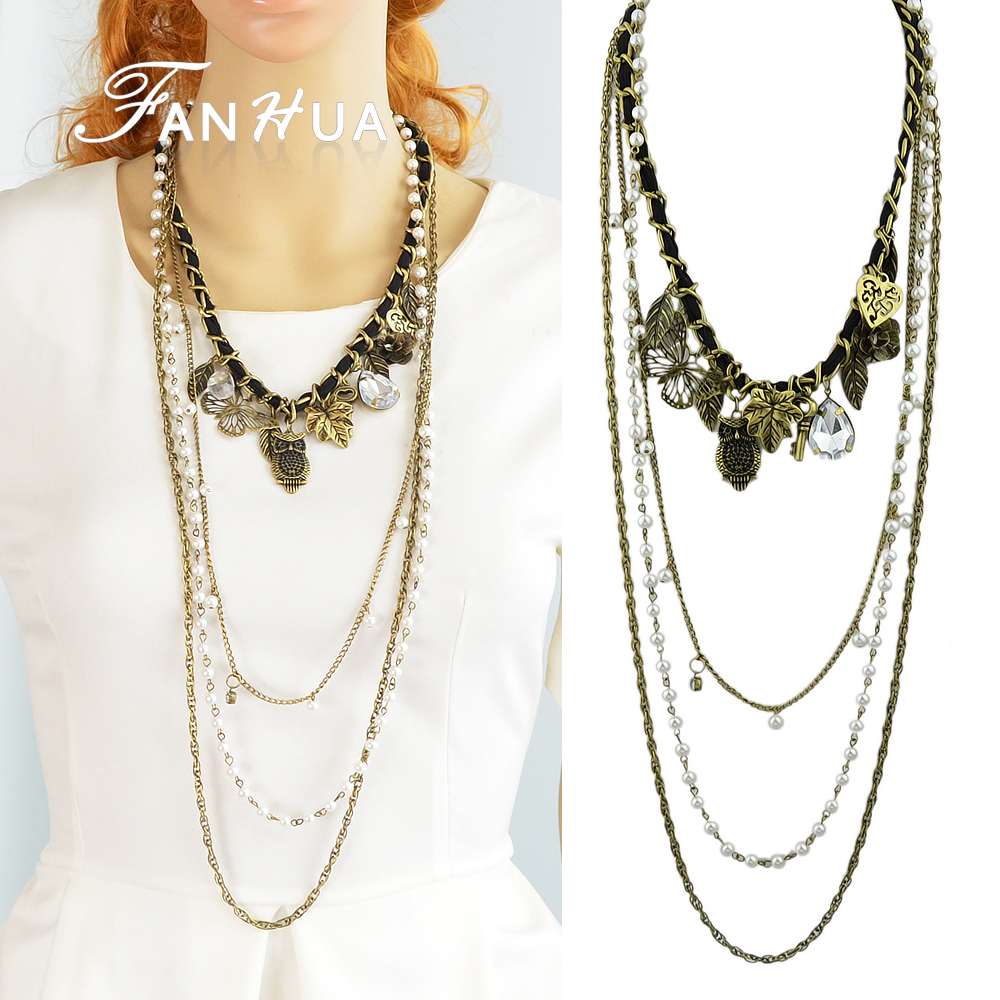Antique Gold Color Alloy Leaf Flower Bird Imitation Pearl Multilayer Long Chains Necklaces