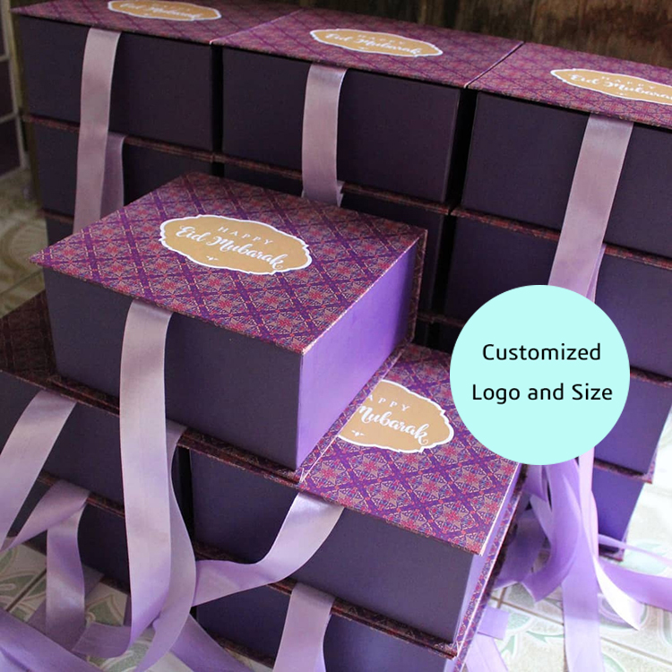 beautiful printing custom cardboard foldable gift box with ribbon closure