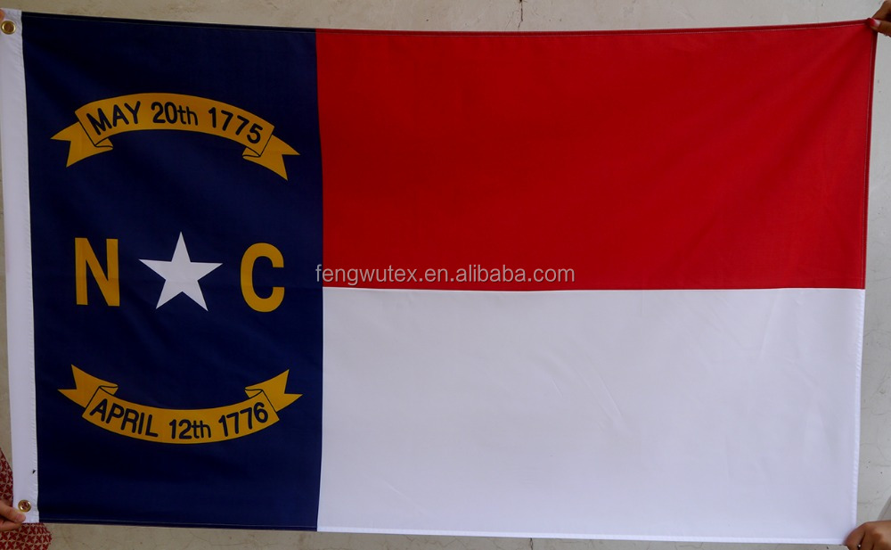 factory direct 75D/100D Polyester 3x5ft digital printed US state north carolina Flag