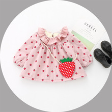 FS0039A Newest Korean kid winter clothing girls lovely strawberry dress