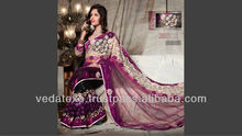 Chain stich embrodery Saree