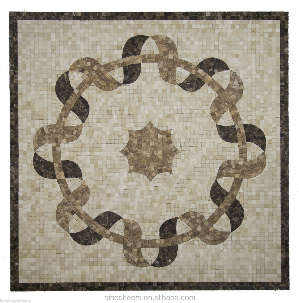 Mosaic Floor Inlay : Marble mosaic medallion quot x floor wall tile design